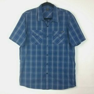 Oakley Blue Short Sleeve Button Down Casual Shirt
